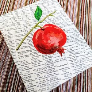 Pomegranate dictionary page painting, wall art